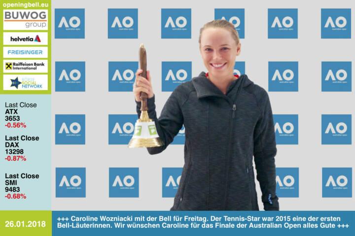 #openingbell am 26.1.: Caroline Wozniacki mit der Opening Bell für Freitag. Der Tennis-Star aus Dänemark war 2015 eine der ersten Bell-Läuterinnen. Wir wünschen Caroline am Weekend für das Finale bei den Australian Open alles Gute https://twitter.com/CaroWozniacki https://ausopen.com https://www.facebook.com/groups/Sportsblogged