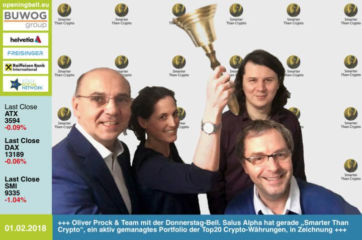 """#openingbell am 1.2.: Oliver Prock und sein Team mit der Opening Bell für Donnerstag. Salus Alpha hat gerade """"Smarter Than Crypto"""", ein aktiv gemanagtes Portfolio der Top20 Crypto-Währungen, in Zeichnung https://www.smarterthancrypto.com/pre-sale_nl1.html https://www.facebook.com/groups/GeldanlageNetwork/ #goboersewien"""