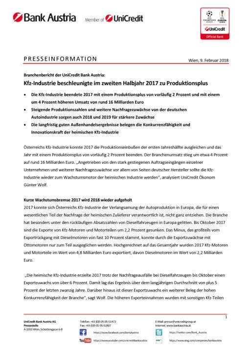 Kfz-Industrie beschleunigte im zweiten Halbjahr 2017 zu Produktionsplus, Seite 1/3, komplettes Dokument unter http://boerse-social.com/static/uploads/file_2419_kfz-industrie_beschleunigte_im_zweiten_halbjahr_2017_zu_produktionsplus.pdf
