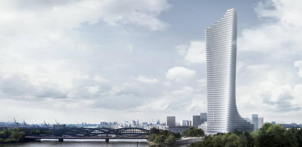 Signa baut in Hamburg das Jahrhundertprojekt  Elbtower, das Design von David Chipperfield Architects überzeugt eine Jury aus Architekten, Stadtplanern und Immobilienprofis. Das spektakuläre Hochhaus, dessen Fertigstellung für Mitte 2025 geplant ist, wird mit 233,3 Metern zum höchsten Gebäude der Hansestadt, Bildquelle: signa.at  (12.02.2018)