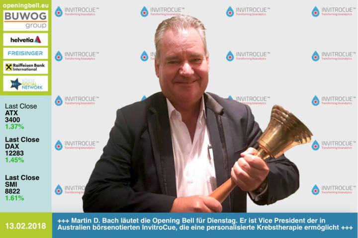 #openingbell am 13.2.: Martin D. Bach läutet die Opening Bell für Dienstag. Er ist Vice President der in Australien börsenotierten InvitroCue, die eine personalisierte Krebstherapie ermöglicht https://invitrocue.com https://www.facebook.com/groups/GeldanlageNetwork/ #goboersewien