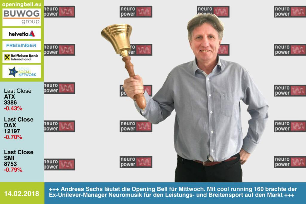 #openingbell am 14.2.: Andreas Sachs läutet die Opening Bell für Mittwoch. Mit cool running 160 brachte der Ex-Unilever-Manager  Neuromusik für den Leistungs- und Breitensport auf den Markt http://www.neuromusic.at https://www.facebook.com/groups/Sportsblogged   https://www.facebook.com/groups/GeldanlageNetwork/  #goboersewien  (14.02.2018)