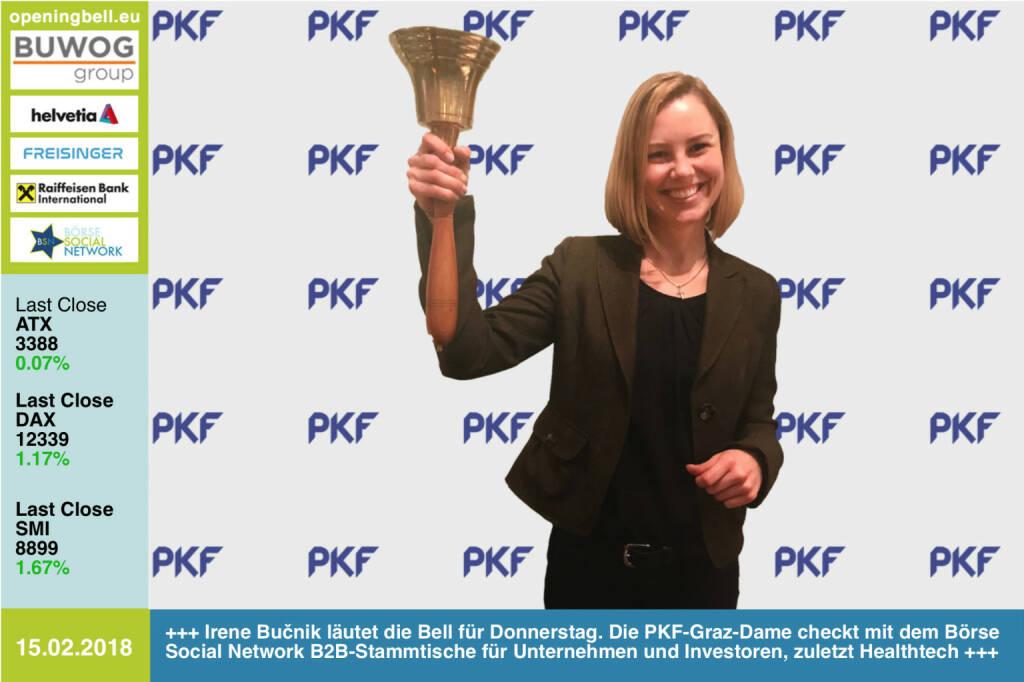 #openingbell am 15.2.: Irene Bučnik läutet die Opening Bell für Donnerstag. Die PKF-Graz-Dame checkt mit dem Börse Social Network B2B-Stammtische für Unternehmen und Investoren, zuletzt Healthtech http://www.pkf-graz.at https://www.facebook.com/groups/GeldanlageNetwork/  #goboersewien  (15.02.2018)