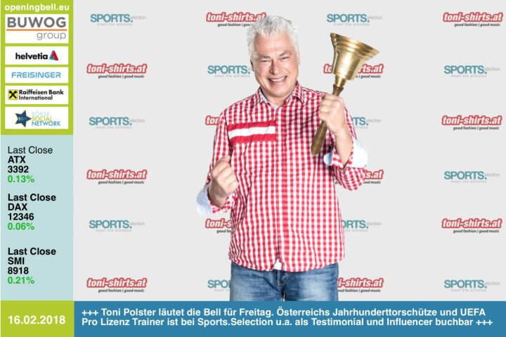 """#openingbell am 16.2.: Anton """"Toni"""" Polster läutet die Opening Bell für Freitag. Österreichs Jahrhunderttorschütze und UEFA Pro Lizenz Trainer ist bei Sports.Selection u.a. als Testimonial und Influencer buchbar https://www.heralic.at/sports-selection-1/ http://www.toni-shirts.at/ https://www.facebook.com/groups/Sportsblogged"""