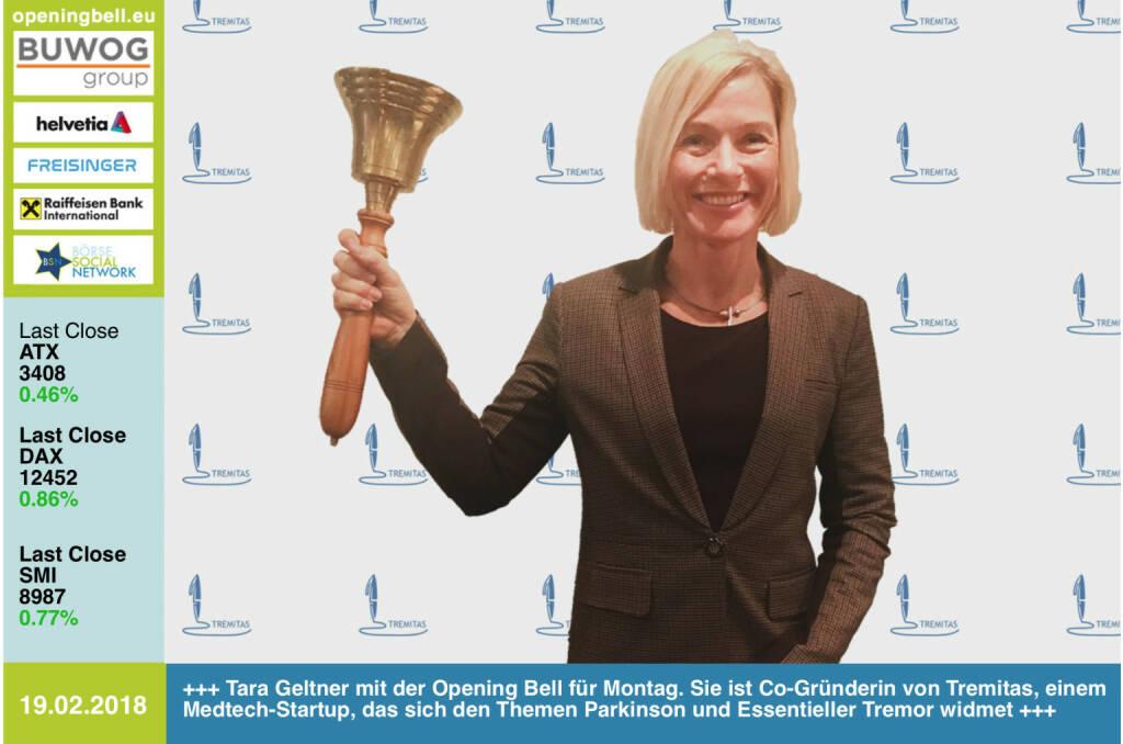 #openingbell am 19.2.: Tara Geltner mit der Opening Bell für Montag. Sie ist Co-Gründerin von Tremitas, einem Medtech-Startup, das sich den Themen Parkinson und Essentieller Tremor widmet  http://www.tremitas.com https://www.facebook.com/groups/GeldanlageNetwork/ #goboersewien  (19.02.2018)