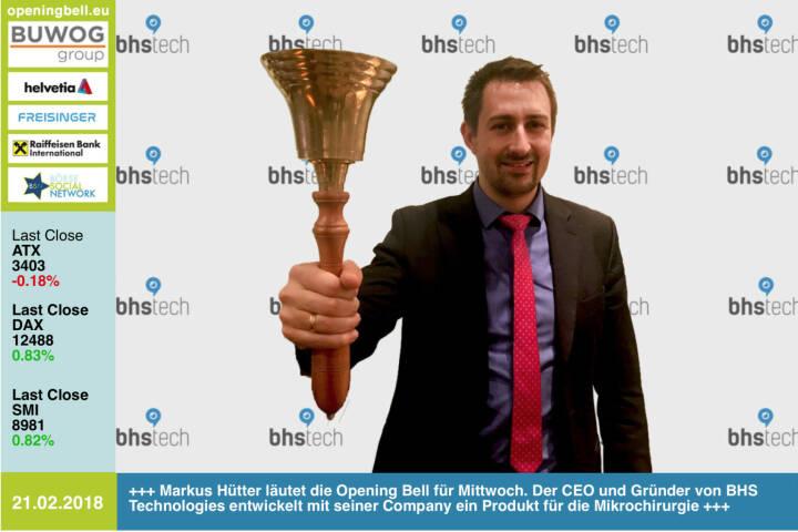#openingbell am 21.2.: Markus Hütter läutet die Opening Bell für Mittwoch. Der CEO und Gründer von BHS Technologies entwickelt mit seiner Company ein Produkt für die Mikrochirurgie http://www.bhs-technologies.com https://www.facebook.com/groups/GeldanlageNetwork/ #goboersewien