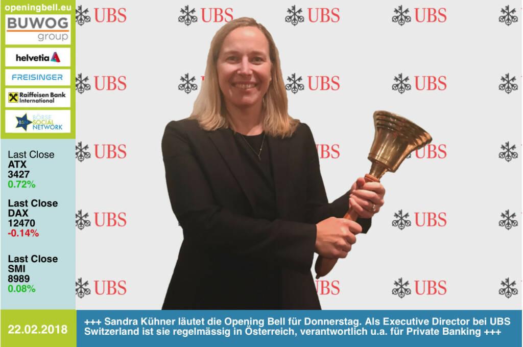 #openingbell am 22.2.: Sandra Kühner läutet die Opening Bell für Donnerstag. Als Executive Director bei UBS Switzerland ist sie regelmässig in Österreich, verantwortlich u.a. für Private Banking https://www.ubs.com/at/de.html https://www.facebook.com/groups/GeldanlageNetwork/ #goboersewien