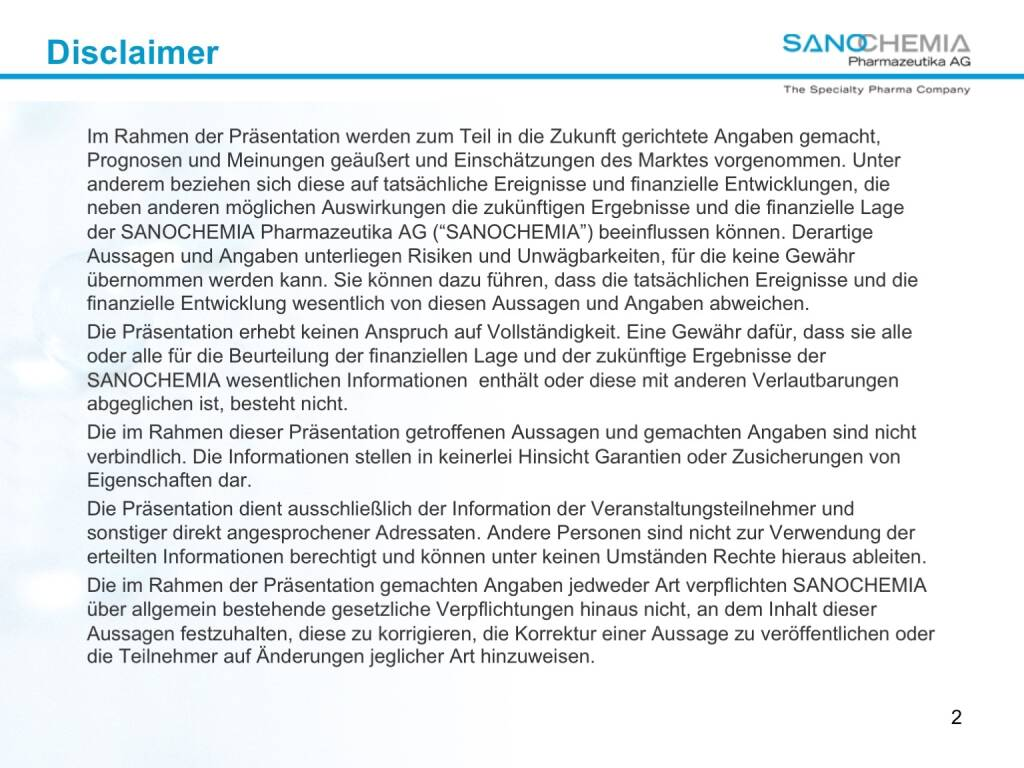 Präsentation Sanochemia - Disclaimer (27.02.2018)