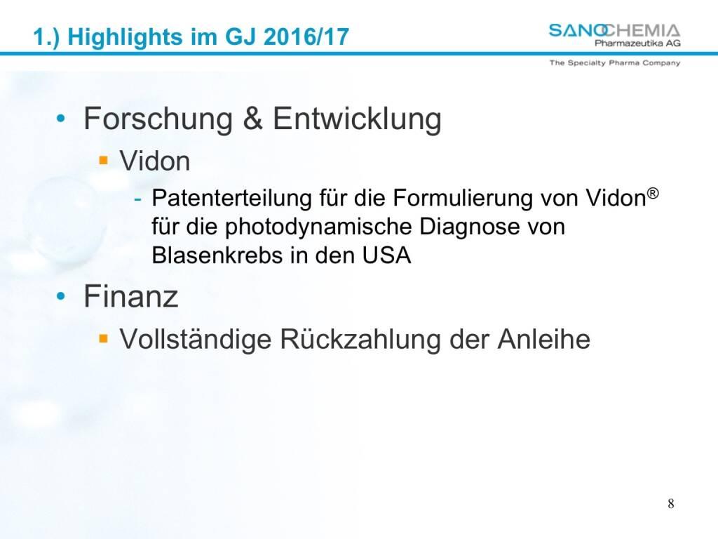 Präsentation Sanochemia - Forschung, Entwicklung und Finanz (27.02.2018)