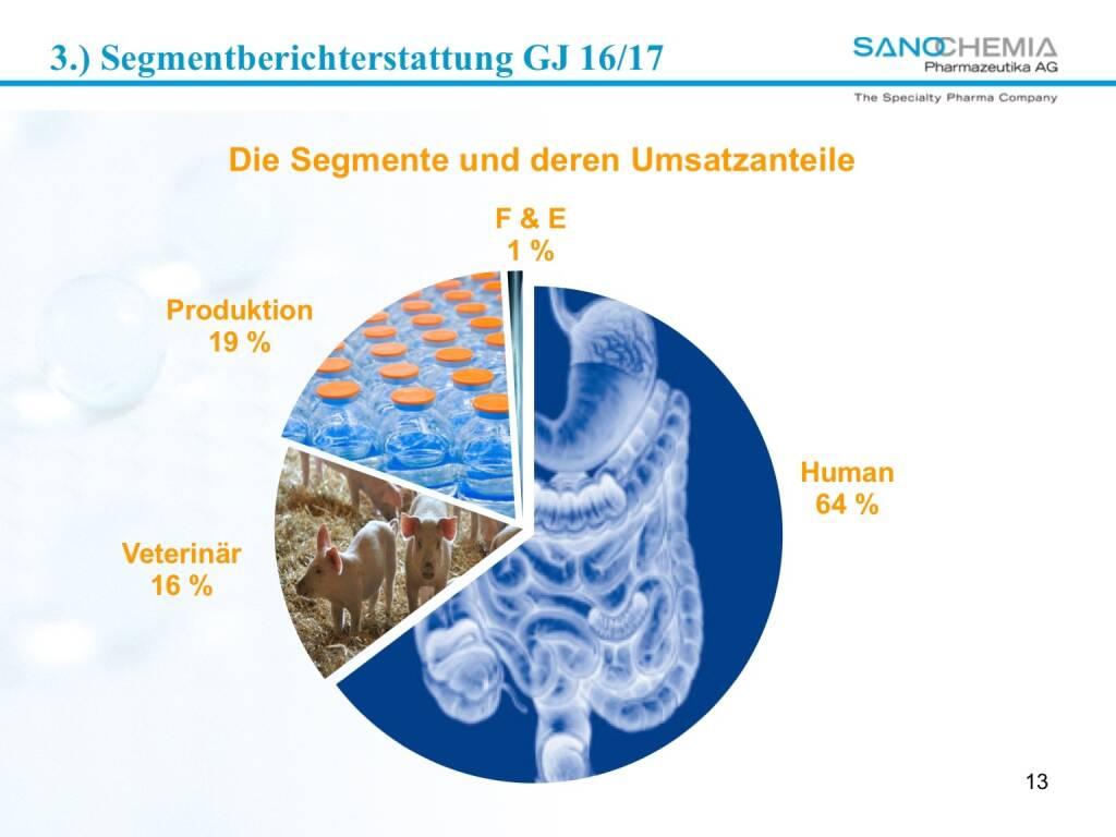 Präsentation Sanochemia - Segmente und deren Umsatzanteile (27.02.2018)