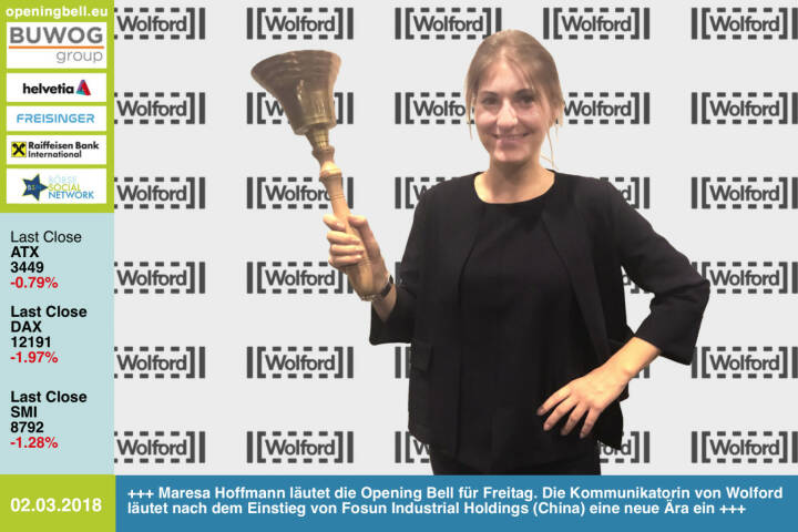 #openingbell am 2.3.:  Maresa Hoffmann läutet die Opening Bell für Freitag. Die Kommunikatorin von Wolford läutet nach dem Einstieg von Fosun Industrial Holdings (China) eine neue Ära ein http://www.wolford.com https://www.facebook.com/groups/GeldanlageNetwork/ #goboersewien