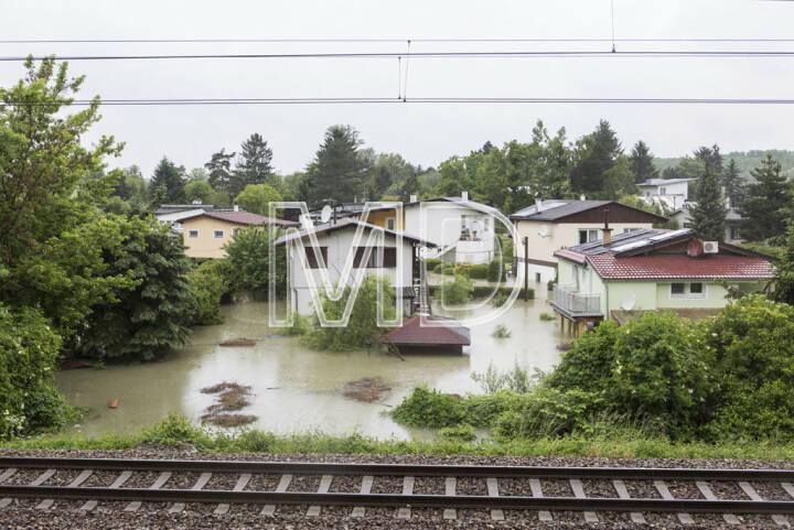 Hochwasser, Greifenstein, Badesiedlung