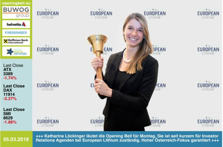 #openingbell am 5.3.: Katharina Löckinger läutet die Opening Bell für Montag. Sie ist seit kurzem für Investor Relations Agenden bei European Lithium zuständig. Hoher Österreich-Fokus garantiert http://europeanlithium.com http://www.boerse-social.com/el  https://www.facebook.com/groups/GeldanlageNetwork/ #goboersewien