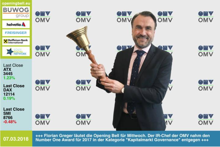 #openingbell am 7.3.: Florian Greger läutet die Opening Bell für Mittwoch. Der IR-Chef der OMV nahm den Number One Award für 2017 in der Kategorie Kapitalmarkt Governance entgegen https://boerse-social.com/numberone/2017 http://www.omv.com https://www.facebook.com/groups/GeldanlageNetwork/ #goboersewien