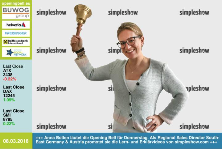 #openingbell am 8.3.: Anna Bolten läutet die Opening Bell für Donnerstag. Als Regional Sales Director South-East Germany & Austria promotet sie die Lern- und Erklärvideos von http://www.simpleshow.com . Ist auch ein Case für http://www.boerse-social.com https://www.facebook.com/groups/GeldanlageNetwork/ #goboersewien