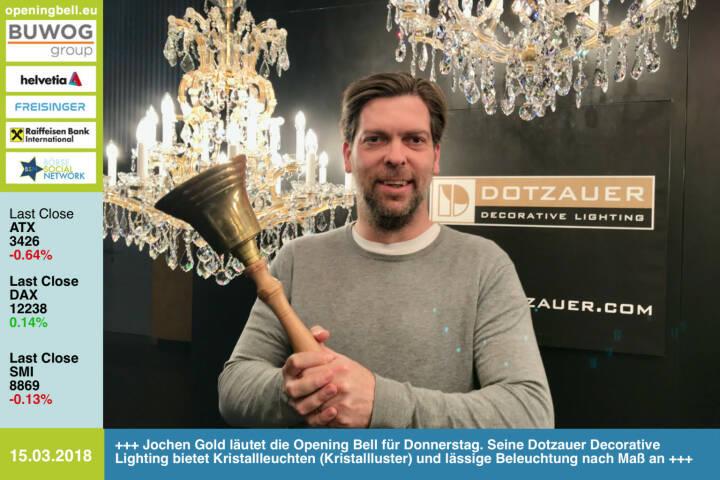 15.3.: Jochen Gold läutet die Opening Bell für Donnerstag. Seine Dotzauer Decorative Lighting bietet Kristallleuchten (Kristallluster) und lässige Beleuchtung nach Maß an http://www.dotzauer.com https://www.facebook.com/groups/GeldanlageNetwork/ #goboersewien