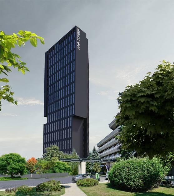 Der europäische Baukonzern Strabag SE hat über seine rumänische Tochtergesellschaft den Auftrag für den Bau eines 110 m hohen Büroturms im Zentrum Bukarests erhalten. Die Auftragssumme beträgt circa € 39 Mio. Die Fertigstellung ist für Oktober 2019 geplant. Bildnachweis: Ana Tower Offices SRL (20.03.2018)