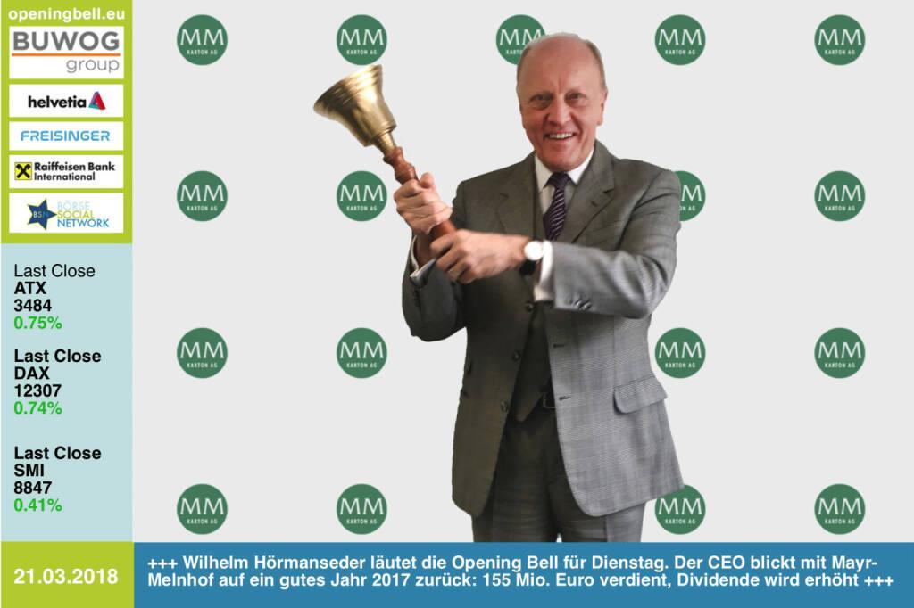 21.3.: Wilhelm Hörmanseder läutet die Opening Bell für Dienstag. Der CEO blickt mit seiner Mayr-Melnhof auf ein gutes Jahr 2017 zurück: 155 Mio. Euro verdient, Dividende wird erhöht https://www.mayr-melnhof.com https://www.facebook.com/groups/GeldanlageNetwork/ #goboersewien   (21.03.2018)