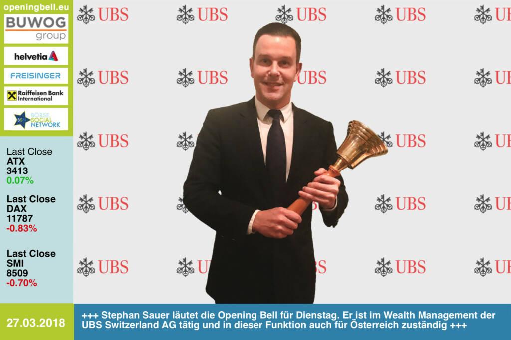 27.3.:  Stephan Sauer läutet die Opening Bell für Dienstag. Er ist im Wealth Management der UBS Switzerland AG tätig und in dieser Funktion auch für den österreichischen Markt zuständig https://www.ubs.com/at/de.html https://www.facebook.com/groups/GeldanlageNetwork/ #goboersewien   (27.03.2018)