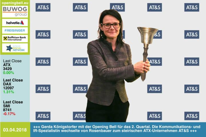 3.4.:Gerda Königstorfer läutet die Opening Bell für Dienstag und das 2. Quartal. Die Kommunikations- und IR-Spezialistin wechselte von Rosenbauer zum steirischen ATX-Unternehmen AT&S https://ats.net/de/ https://www.facebook.com/groups/GeldanlageNetwork/ #goboersewien