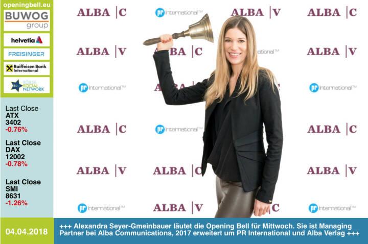 4.4.:Alexandra Seyer-Gmeinbauer läutet die Opening Bell für Mittwoch. Sie kommuniziert hoch 3: Sie ist Managing Partner bei Alba Communications, seit 2017 erweitert um die Firmen PR International und Alba Verlag www.albacommunications.at https://www.facebook.com/groups/GeldanlageNetwork/ #goboersewien