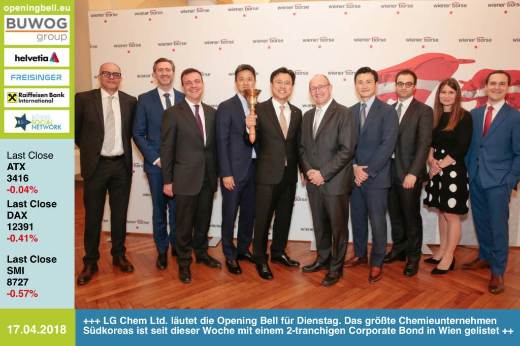 17.4.: LG Chem Ltd. und Vertreter der Wiener Börse läuten die Opening Bell für Dienstag. LG Chem, das größte Chemieunternehmen Südkoreas, ist seit dieser Woche mit einem 2-tranchigen Corporate Bond in Wien gelistet http://www.lgchem.com/global/main http://www.wienerborse.at https://www.facebook.com/groups/GeldanlageNetwork/ #goboersewien (17.04.2018)