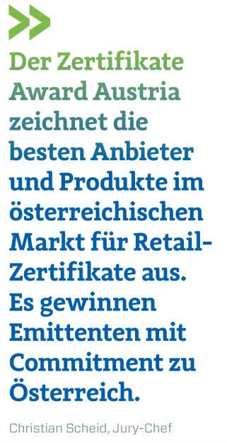 Der Zertifikate Award Austria zeichnet die besten Anbieter und Produkte im österreichischen Markt für Retail-Zertifikate aus. Es gewinnen Emittenten mit Commitment zu Österreich. Christian Scheid, Jury-Chef (20.04.2018)