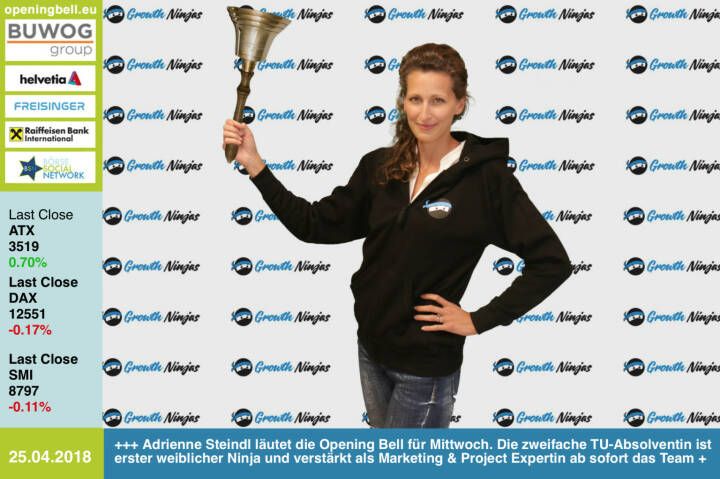 25.4. Adrienne Steindl läutet die Opening Bell für Mittwoch. Die zweifache TU-Absolventin ist erster weiblicher Ninja und verstärkt als Marketing & Project Expertin ab sofort das Team https://www.growth-ninjas.com https://www.facebook.com/groups/GeldanlageNetwork/ #goboersewien