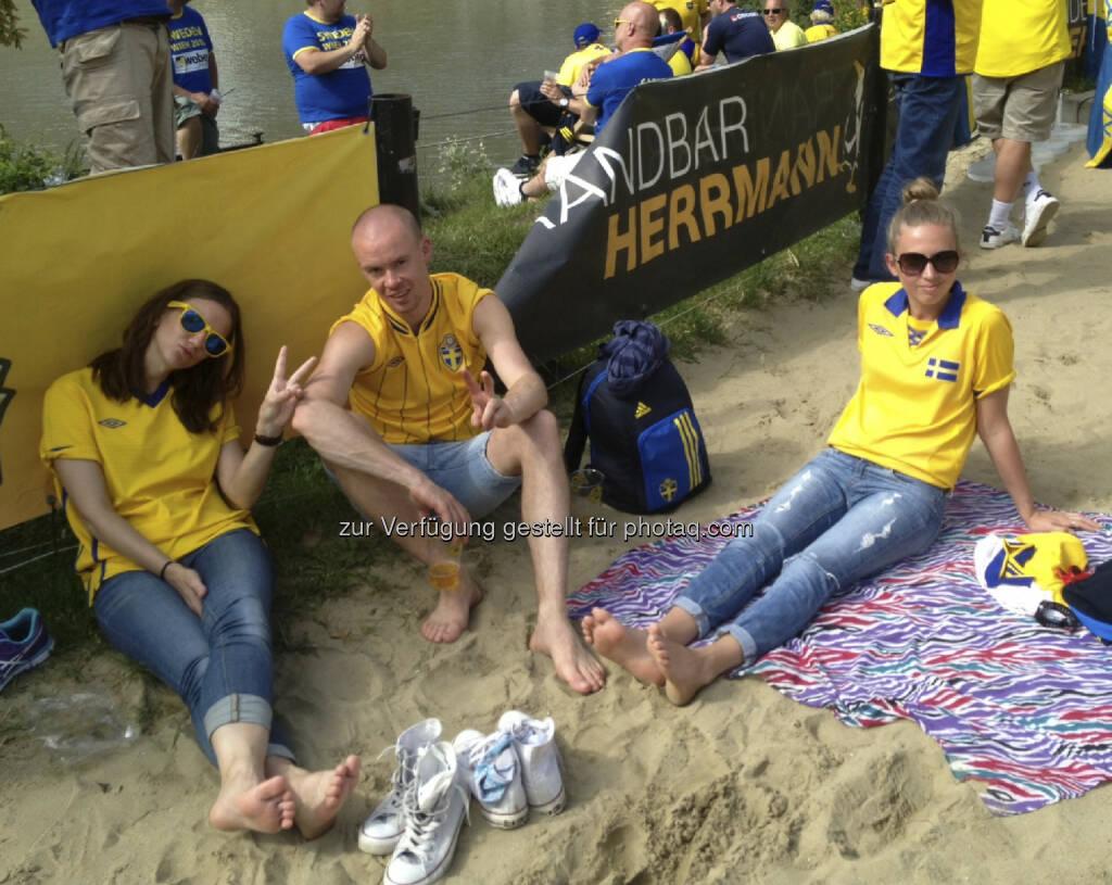 Die Schweden bei der Strandbar Herrmann, Strand, Sonne (07.06.2013)