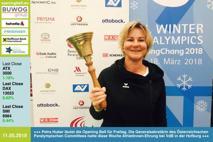 11.5.: Petra Huber läutet die Opening Bell für Freitag. Die Generalsekretärin des Österreichischen Paralympischen Committees hatte diese Woche AthletInnen-Ehrung bei VdB in der Hofburg http://www.oepc.at/ http://runplugged.com/2018/05/11/paralympic_32000_euro_und_eine_besondere_ehrung_durch_den_bundesprasidenten_in_der_hofburg https://www.facebook.com/groups/Sportsblogged   https://www.facebook.com/groups/GeldanlageNetwork/  #goboersewien