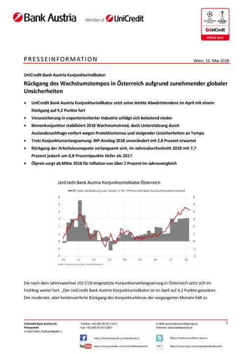 UniCredit Bank Austria Konjunkturindikator: Rückgang des Wachstumstempos in Österreich aufgrund zunehmender globaler Unsicherheiten, Seite 1/6, komplettes Dokument unter http://boerse-social.com/static/uploads/file_2423_unicredit_bank_austria_konjunkturindikator_ruckgang_des_wachstumstempos_in_osterreich_aufgrund_zunehmender_globaler_unsicherheiten.pdf