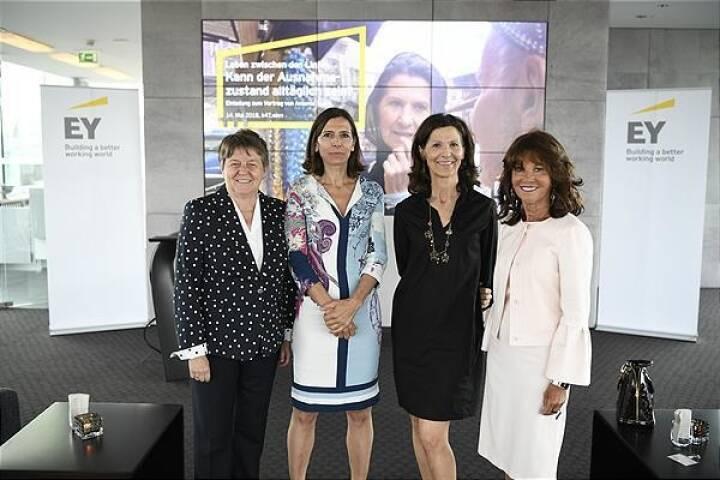 EY Women.Fast Forward (v.l.n.r.): Brigitte Ederer (Aufsichtsrätin u.a. bei Boehringer Ingelheim und Infineon), Helen Pelzmann (Partnerin EY Law), Antonia Rados, Brigitte Bierlein (Präsidentin des Verfassungsgerichtshofs); Foto: EY