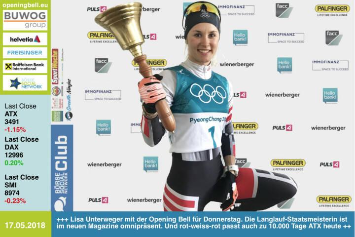 17.5.: Lisa Unterweger läutet die Opening Bell für Donnerstag. Die Langlauf-Staatsmeisterin ist im neuen http://www.boerse-social.com/magazine mit http://www.wemove.at und http://www.thoraxtrainer.com omnipräsent. Hier Impressionen: http://www.photaq.com/page/index/3466 . Und ihr rot-weiss-rotes Outfit passt auch zum genialen Jubiläum heute: 10.000 Tage ATX https://www.facebook.com/lisaunterweger95/ https://www.facebook.com/groups/GeldanlageNetwork/ #goboersewien https://www.facebook.com/groups/Sportsblogged