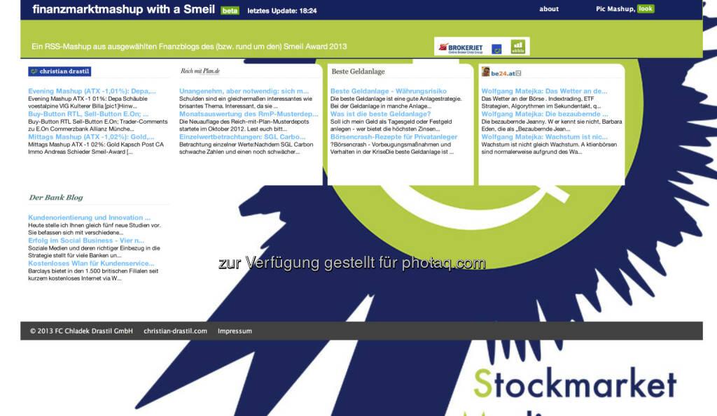 http://finanzmarktmashup.at/mashup/smeil-blogger - hängt mit dem Smeil Award, http://www.smeil-award.com zusammen , jeder Nominierte kann dabei sein, dazu die Award-Partner (11.06.2013)