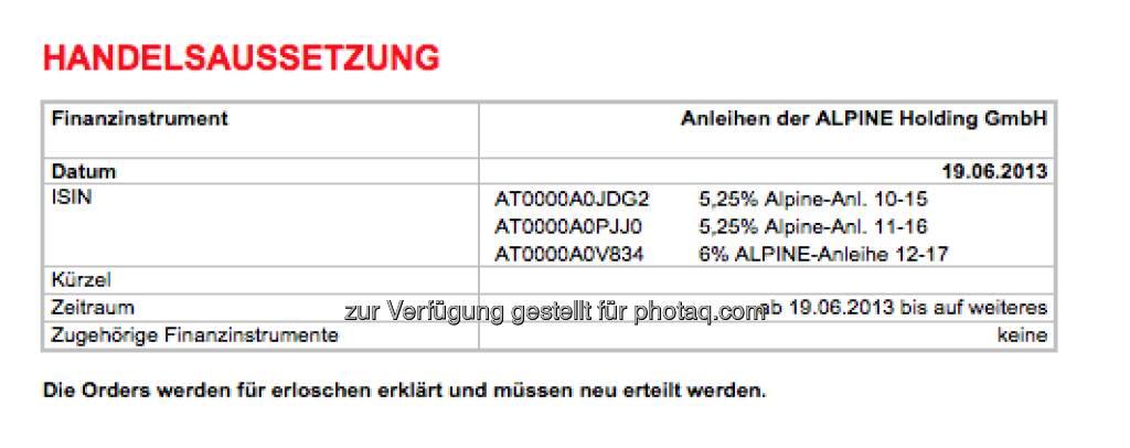 Alpine-Anleihen vom Handel ausgesetzt (19.06.2013)