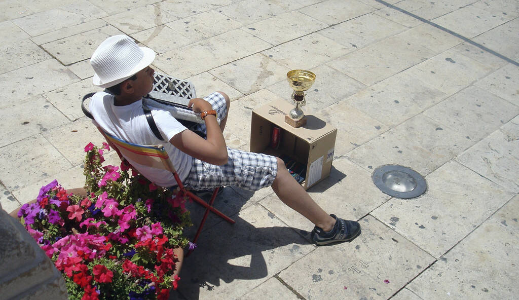 Ziehharmonikaspieler, Sizilien, © Gabriele Hartweger (05.07.2013)