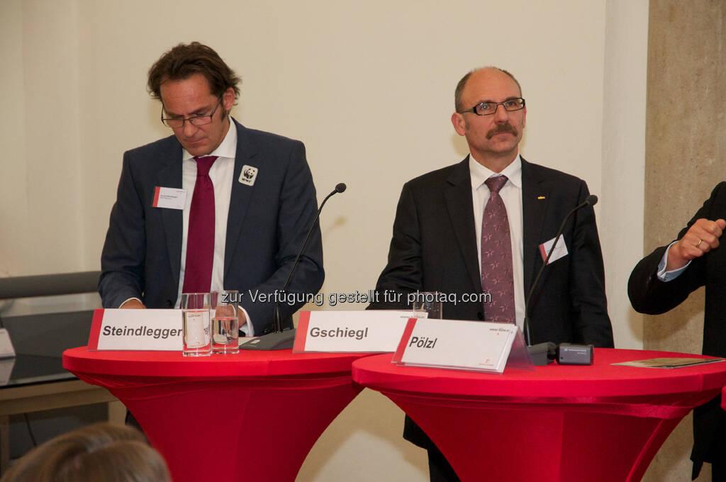 Gerald Steindlegger (WWF Österreich), Franz Gschiegl (ESPA), © Wiener Börse, Claus Beischlager (15.12.2012)