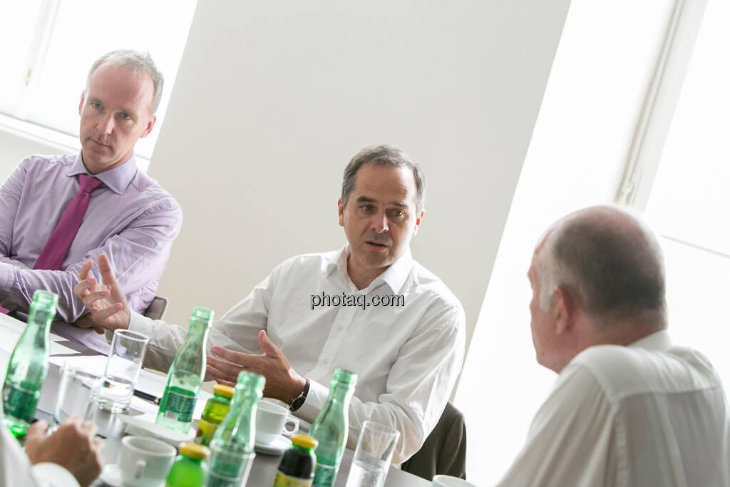 Christian Drastil, Wolfgang Matejka (Matejka & Partner), Wolfgang Nolz (Kapitalmarktbeauftragter, BMF), © finanzmarktfoto.at/Martina Draper (06.08.2013)