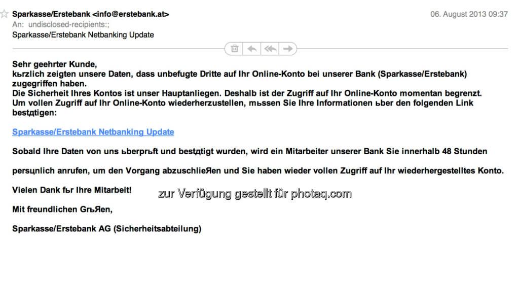 Erste Bank als Spamopfer (09.08.2013)