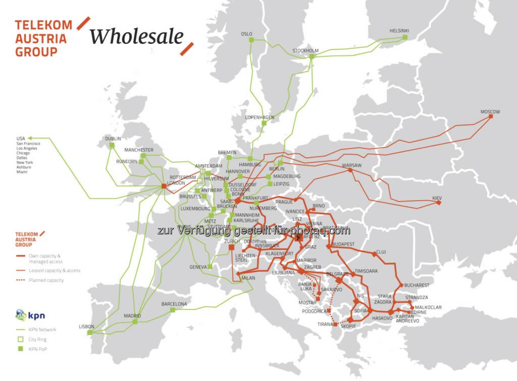 Telekom Austria Group und KPN International: Wholesale Partnerschaft bildet eines der größten Glasfasernetze Europas - gemeinsamer Footprint mehr als verdoppelt: 173 Points of Presence (PoP) in 35 Ländern (c) Telekom Austria (13.08.2013)