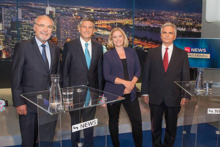 TV-Kanzlerduell auf puls4: Peter Rabl, Michael Spindelegger, Corinna Milborn, Werner Faymann (Bild: Christian Mikes)