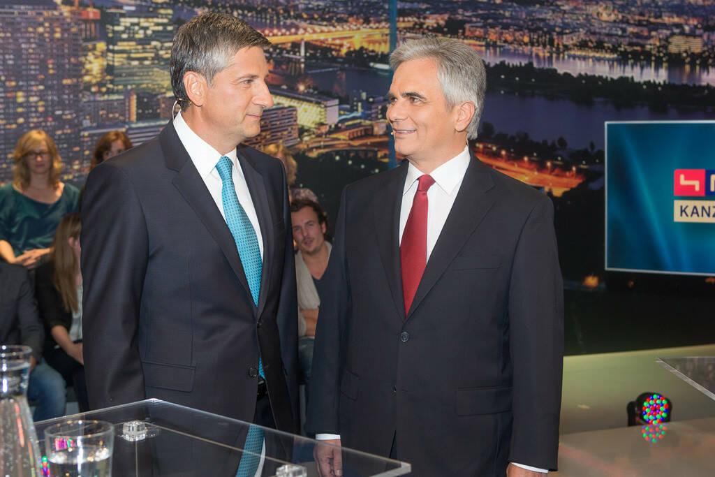 TV-Kanzlerduell auf puls4: Vizekanzler Michael Spindelegger & Bundeskanzler Werner Faymann (Bild: Christian Mikes) (27.08.2013)