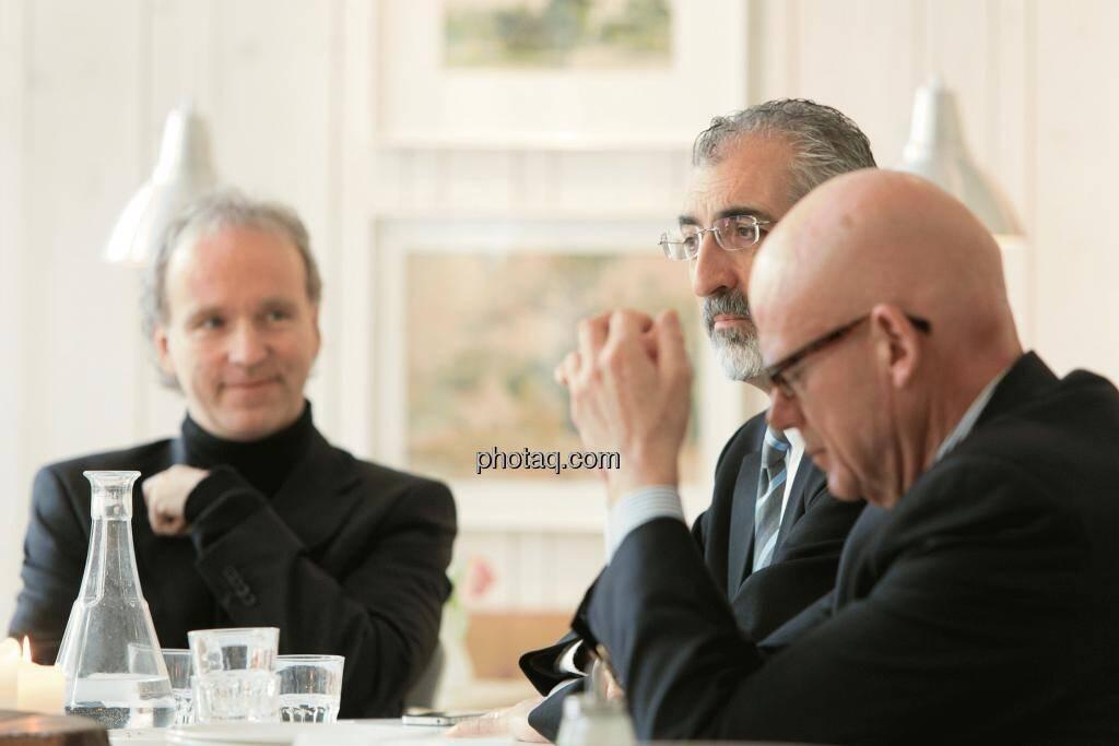 Christian Drastil (Christian Drastil Communications), Bradford Cooke (CEO Endeavour Silver), Hugh D. Clarke (Vice President Endeavour Silver), © Martina Draper (15.12.2012)