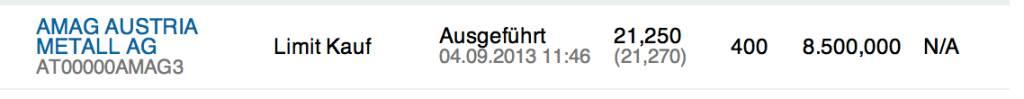 14. Trade für https://www.wikifolio.com/de/DRASTIL1-Stockpicking-sterreich: Kauf 400 Amag zu 21,25 : Kursrückgang auch wegen ATX-Aus,, © wikifolio WFDRASTIL1 (04.09.2013)