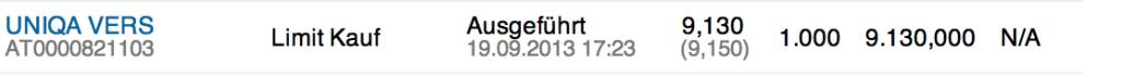 25. Trade für https://www.wikifolio.com/de/DRASTIL1: Kauf 1000 Uniqa zu 9,13, die Zahlen war gut, aber eine grosse Transaktion wurde kommuniziert, das zusätzliche Volumen drückt temporär auf den Sekundärmarktkurs, © wikifolio WFDRASTIL1 (19.09.2013)